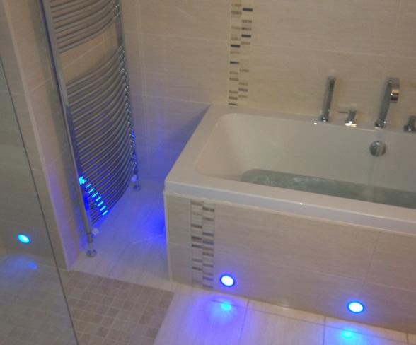 wet room lighting. bangor wet room design. our lighting